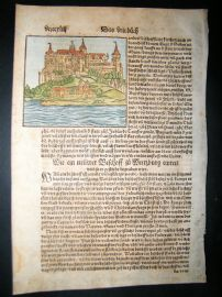 Munster C1570 Hand Col Woodcut. Wurzburg, Bavaria, Germany